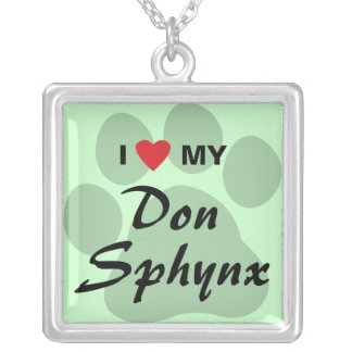 I Love (Heart) My Don Sphynx Pawprint Design Silver Plated Necklace