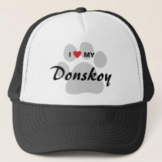 I Love (Heart) My Donskoy Pawprint Design Trucker Hat