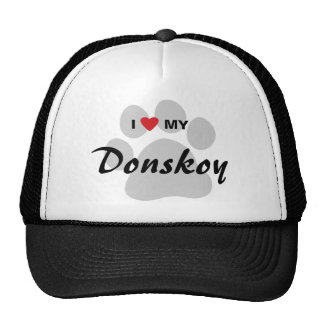 I Love (Heart) My Donskoy Pawprint Design Trucker Hat