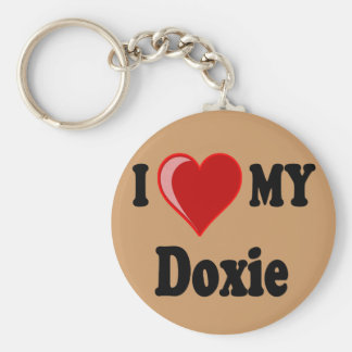 I Love (Heart) My Doxie Dog Keychain