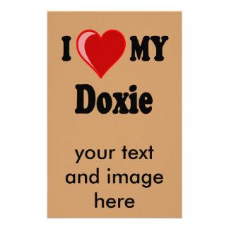 I Love (Heart) My Doxie Dog Stationery Design