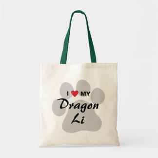 I Love (Heart) My Dragon Li Pawprint Design Canvas Bag