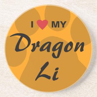 I Love (Heart) My Dragon Li Pawprint Design Coaster