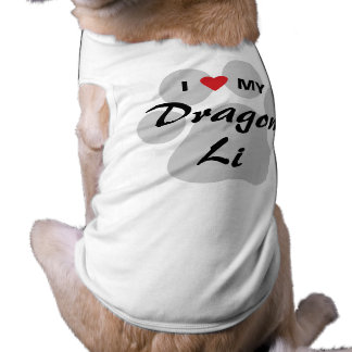 I Love (Heart) My Dragon Li Pawprint Design Doggie Tee