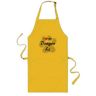 I Love (Heart) My Dragon Li Pawprint Design Long Apron