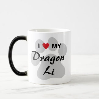 I Love (Heart) My Dragon Li Pawprint Design Magic Mug