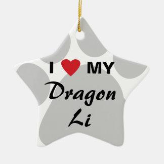 I Love (Heart) My Dragon Li Pawprint Design Christmas Tree Ornament