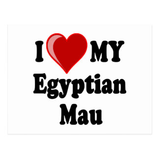 I Love (Heart) My Egyptian Mau Cat Postcard