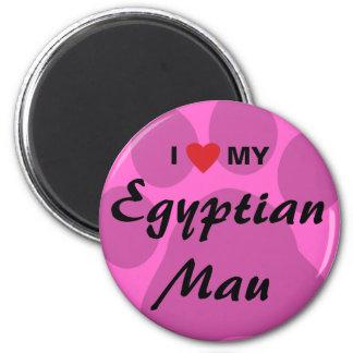 I Love Heart My Egyptian Mau Pawprint Design Magnets