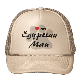 I Love (Heart) My Egyptian Mau Pawprint Design Trucker Hat