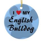 I Love (Heart) My English Bulldog Pawprint Ceramic Ornament