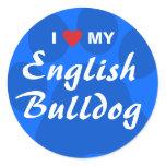 I Love (Heart) My English Bulldog Pawprint Classic Round Sticker