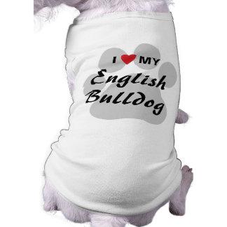 I Love (Heart) My English Bulldog Pawprint T-Shirt