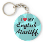 I Love (Heart) My English Mastiff Pawprint Keychain
