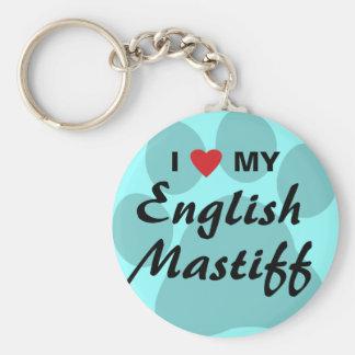I Love (Heart) My English Mastiff Pawprint Keychain
