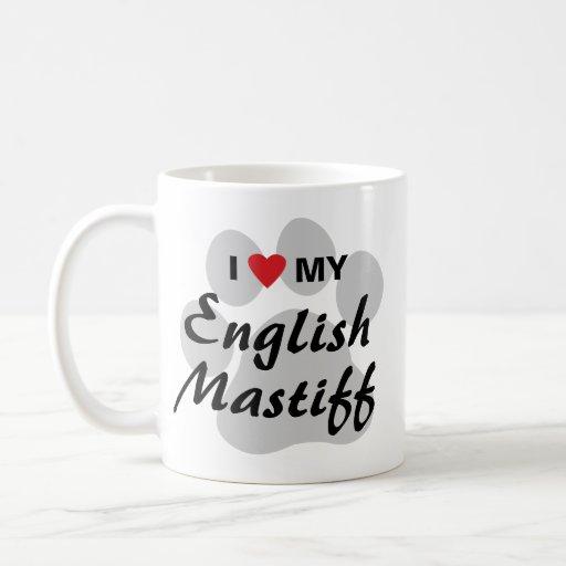 I Love (Heart) My English Mastiff Pawprint Coffee Mugs