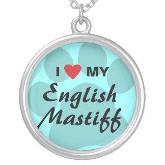 I Love (Heart) My English Mastiff Pawprint Necklace