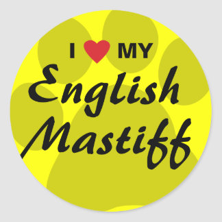 I Love (Heart) My English Mastiff Pawprint Classic Round Sticker