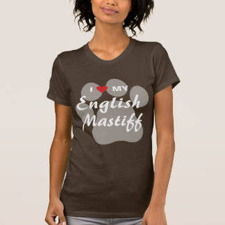 I Love (Heart) My English Mastiff Pawprint Shirt