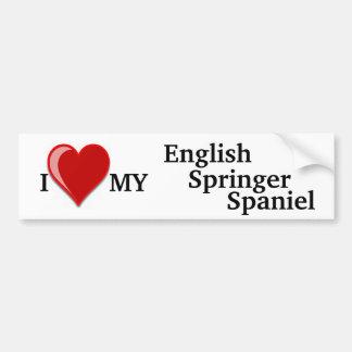 I Love (Heart) My English Springer Spaniel Dog Car Bumper Sticker