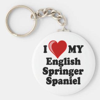 I Love (Heart) My English Springer Spaniel Dog Keychain