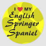 I Love(Heart)My English Springer Spaniel Pawprint Classic Round Sticker