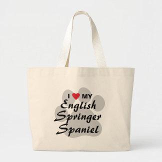 I Love(Heart)My English Springer Spaniel Pawprint Large Tote Bag