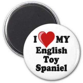I Love (Heart) My English Toy Spaniel Dog 2 Inch Round Magnet
