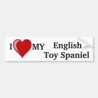 I Love (Heart) My English Toy Spaniel Dog Car Bumper Sticker
