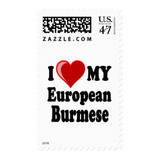 I Love (Heart) My European Burmese Cat Postage