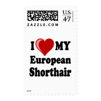 I Love (Heart) My European Shorthair Cat Postage