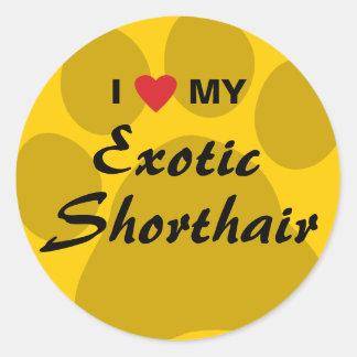 I Love (Heart) My Exotic Shorthair Pawprint Design Classic Round Sticker