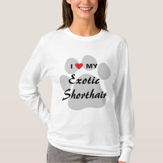 I Love (Heart) My Exotic Shorthair Pawprint Design T-Shirt