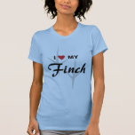 I Love (Heart) My Finch Bird Tracks Design T-Shirt