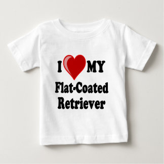 I Love (Heart) My Flat-Coated Retriever Dog Baby T-Shirt