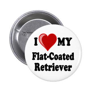 I Love (Heart) My Flat-Coated Retriever Dog Buttons