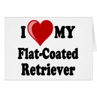 I Love (Heart) My Flat-Coated Retriever Dog Card