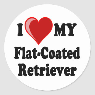 I Love (Heart) My Flat-Coated Retriever Dog Classic Round Sticker