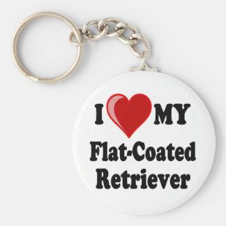 I Love (Heart) My Flat-Coated Retriever Dog Keychain