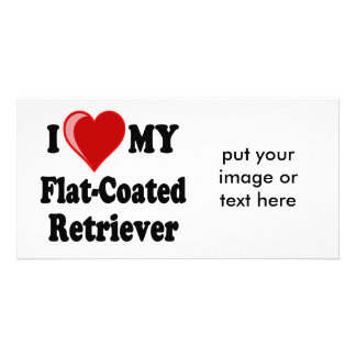 I Love (Heart) My Flat-Coated Retriever Dog Photo Greeting Card
