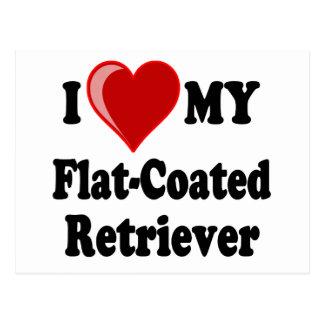I Love (Heart) My Flat-Coated Retriever Dog Postcard