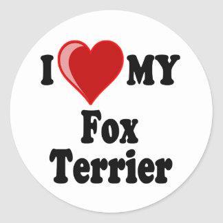I Love (Heart) My Fox Terrier Dog Classic Round Sticker