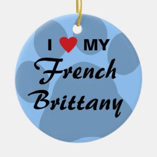 I Love (Heart) My French Brittany Ceramic Ornament