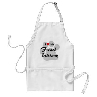 I Love (Heart) My French Brittany Pawprint Adult Apron