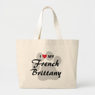I Love (Heart) My French Brittany Pawprint Canvas Bags
