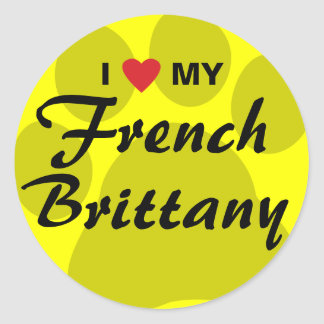 I Love (Heart) My French Brittany Pawprint Classic Round Sticker