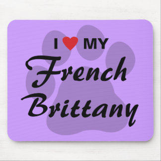 I Love (Heart) My French Brittany Pawprint Mouse Pad