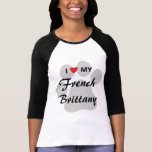 I Love (Heart) My French Brittany Pawprint T-Shirt