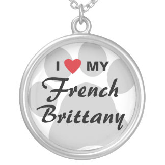 I Love (Heart) My French Brittany Round Pendant Necklace