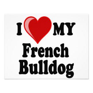 I Love (Heart) My French Bulldog Dog Custom Invites